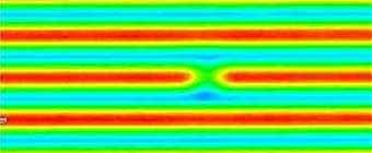 Aerial Image of lines and spaces pattern. The center line shows a defect.
